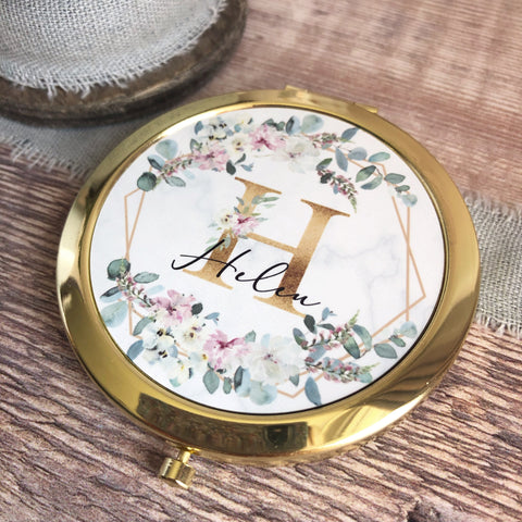 Personalised Initial and Name Pink Floral Geometric Design Rose Gold Compact Mirror.