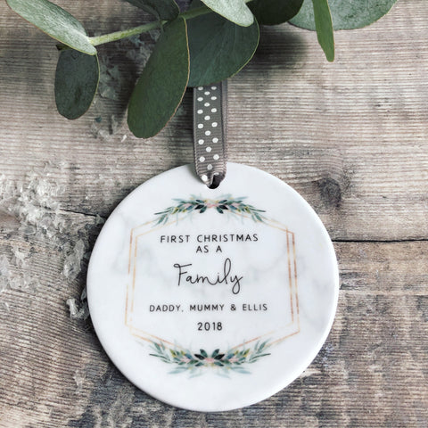 Personalised First Christmas as A Family Marble Style Quote Botanical Ceramic Round Decoration Ornament Keepsake