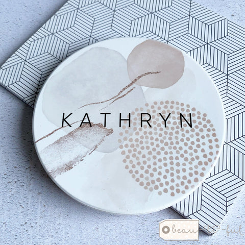 Personalised Name Abstract Ceramic Round Coaster