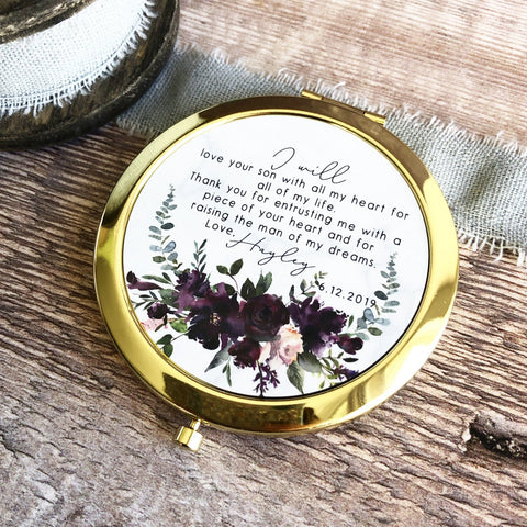 Personalised Mother of Groom Bride Thank you from Bride Groom Quote Burgundy Floral Rose Gold Compact Mirror