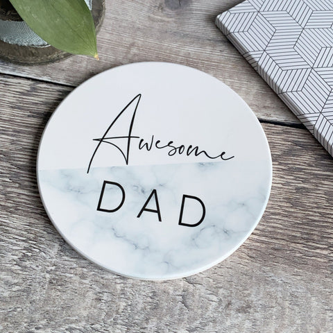 Awesome Dad Daddy Grandad Grandpa Marble style Ceramic Coaster