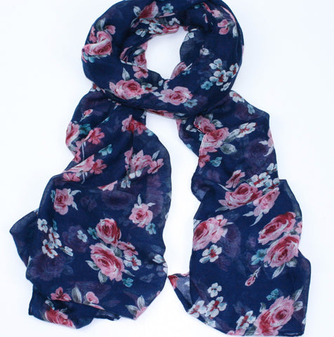 Rose Design Scarf - Blue