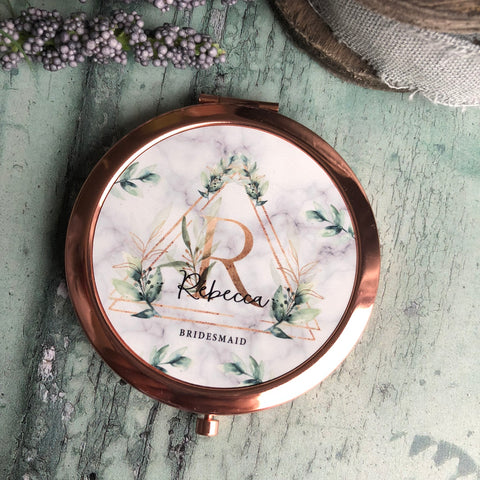 Personalised Initial and Name Bridesmaid  Geometric Botanical Design Round Rose Gold Compact Mirror