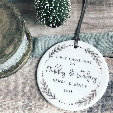 Personalised First Christmas as Hubby and Wifey Monochrome Wreath Ceramic Round Decoration Ornament Keepsake