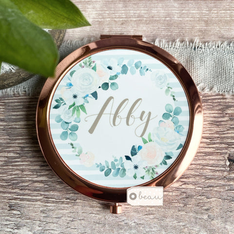 Personalised Name Floral Greenery Rose Gold Compact Mirror
