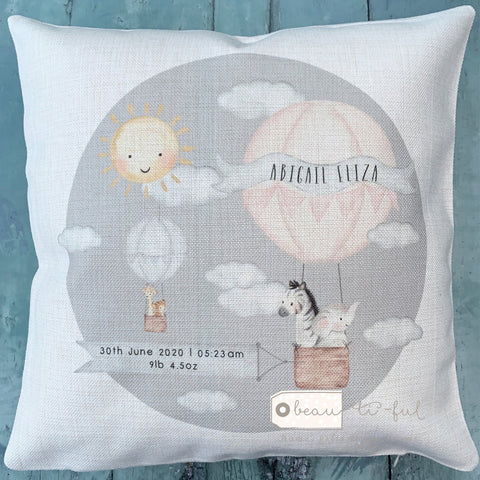 Personalised New Baby Girl Pink Grey...  Cushion