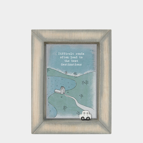 East of India Difficult roads .. Quote Wooden Box Frame