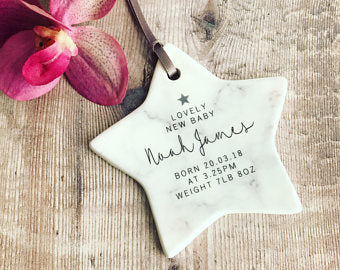 Personalised Lovely New Baby Ceramic Star