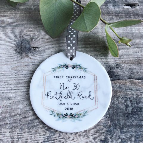 Personalised First Christmas at Address New Home Marble Style Quote Botanical Ceramic Round Decoration Ornament Keepsake