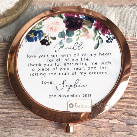 Personalised Mother of Groom Bride Thank you from Bride Groom Quote Burgundy Navy Rose Gold Compact Mirror