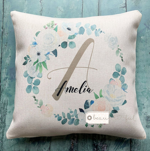 Personalised Floral Name and Initial Cushion