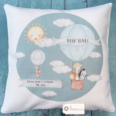 Personalised New Baby Boy Blue Grey... Cushion