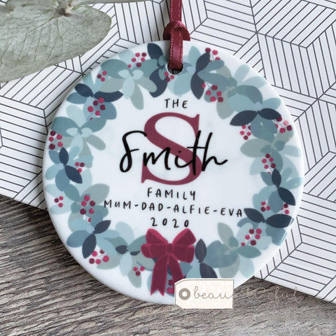 Personalised Family Name Initial Christmas Traditional Wreath Design Decoration
