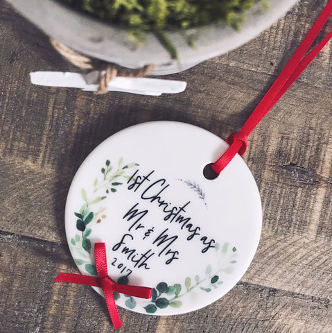 First Christmas as Mr & Mrs Mr & Mr Mrs & Mrs Botanical Round Ceramic Tree Hanger Decoration Ornament