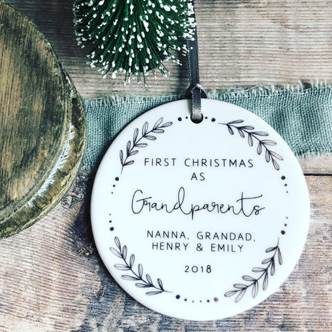 Personalised First Christmas as Grandparents Monochrome Wreath Ceramic Round Decoration Ornament Keepsake