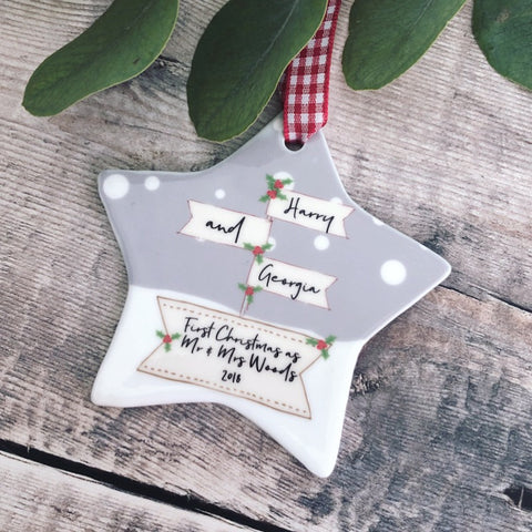 Personalised First Christmas as Mr & Mrs Signpost Ceramic Star Christmas Ceramic Decoration