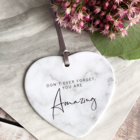 Don't ever forget Quote Marble Style Ceramic Hanging Heart