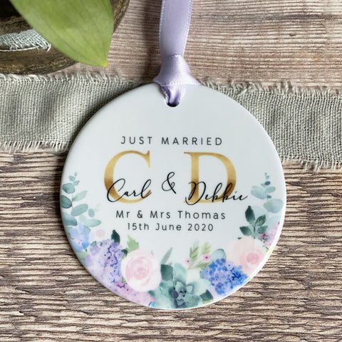 Personalised Just Married Mr & Mrs Wedding Lilac Floral Greenery Ceramic  Keepsake