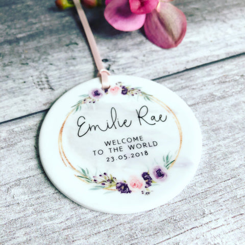 Personalised Welcome to the World Baby Pretty Floral Ceramic Round Decoration Ornament Keepsake