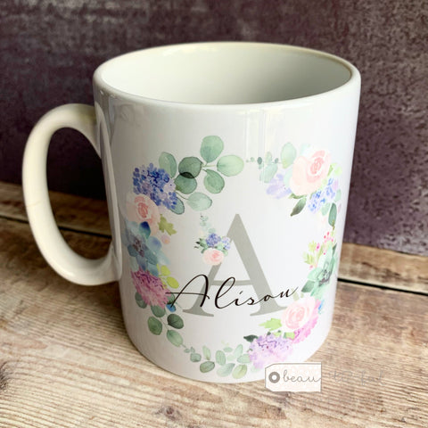 Personalised Name and Initial Lilac Floral Wreath Mug.
