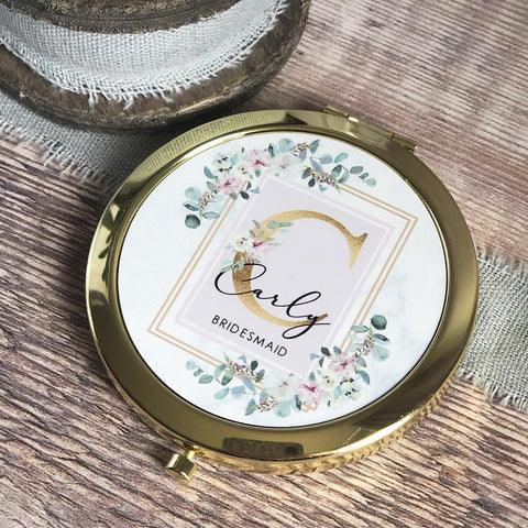 Personalised Initial and Name Pink Floral Design Round Rose Gold Compact Mirror Wedding Bridesmaid Gift