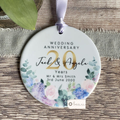 Personalised Mr & Mrs Wedding Anniversary Years Lilac Floral Greenery Keepsake