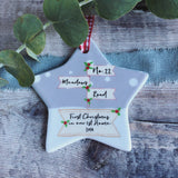 Personalised First Christmas In New Home with Address line Signpost Ceramic Star Christmas Decoration Ornament