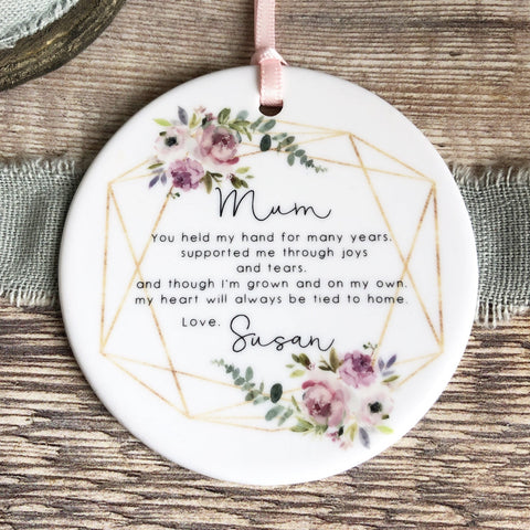 Personalised Mother of Bride Groom Mum you held my hand Quote Floral Ceramic Round Decoration Ornament - Wedding Keepsake