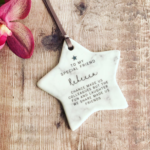 Personalised Chance made us Colleagues Marble Style Ceramic Star Keepsake