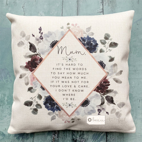 Personalised Quote Floral Botanical Design Cushion