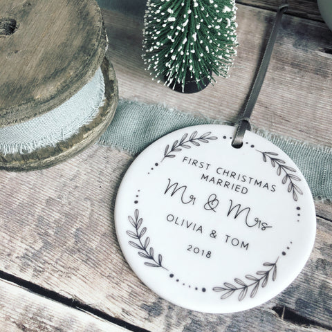Personalised First Christmas Married Mr & Mrs Monochrome Wreath Ceramic Round Decoration Ornament Keepsake