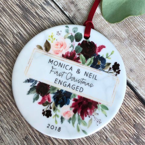 Personalised First Christmas Engaged Together Burgundy Floral Ceramic Ornament ... - Keepsake Decoration