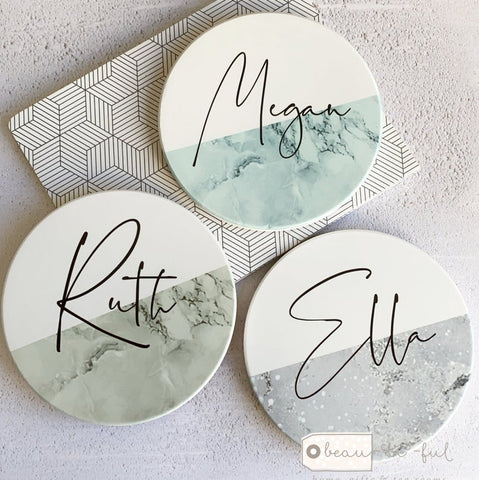 Personalised Name Marble style Ceramic Coaster