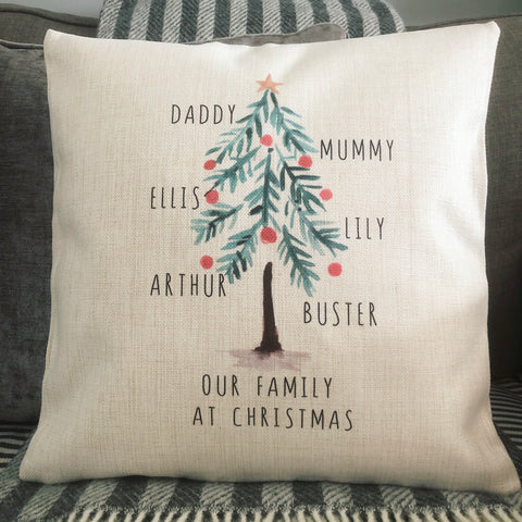 Personalised Our Family at Christmas ... Family Tree Linen Style Cushion