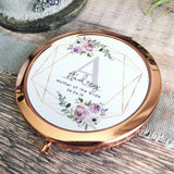 Personalised Initial and Name Lilac Floral Design Round Rose Gold Compact Mirror