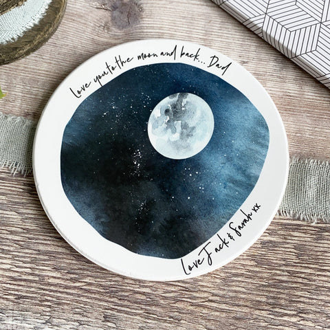 Personalised Love you to the moon and back Ceramic Round Coaster