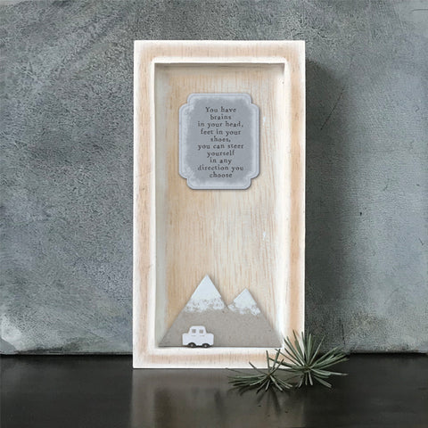 East of India You have brains... Quote Long Wooden Box Frame