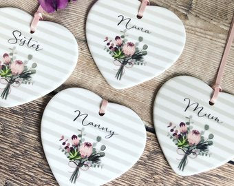 Personalised Name Stripe heart with Floral Detail.... Ceramic Heart - Keepsake - Sentiment Gift positivity Friendship Colleague