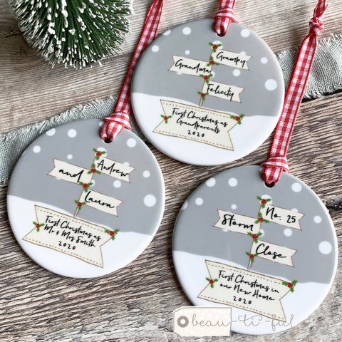 Personalised First Christmas as Grandparents Signpost Ceramic Round Christmas Decoration Ornament