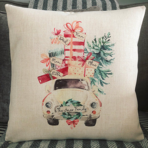 Personalised Christmas Family Car ... Family Linen Style Cushion