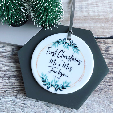 First Christmas as Mr and Mrs Mr and Mr Mrs and Mrs Botanical Round Ceramic Decoration Ornament