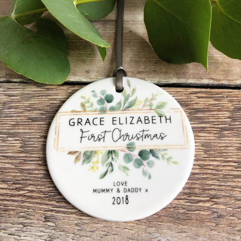 Personalised Baby's First Christmas Framed Greenery Ceramic Round Decoration Ornament Keepsake