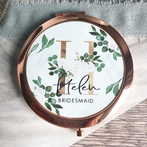 Personalised Initial and Name White Floral & Greenery Round Rose Gold Compact Mirror Wedding Bridesmaid Gift