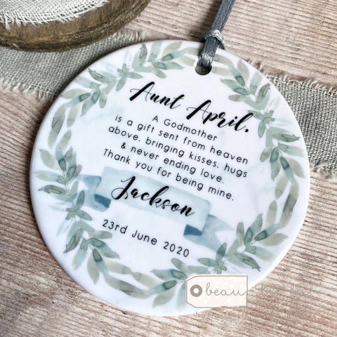 Personalised Will you be my Godmother Botanical Design Ceramic  Keepsake