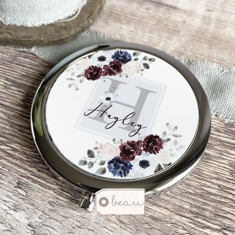 Personalised Initial and Name Navy Grey Burgundy Floral  Compact Mirror
