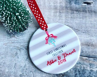 Personalised First Christmas Together Mistletoe Detail Decoration, ceramic round