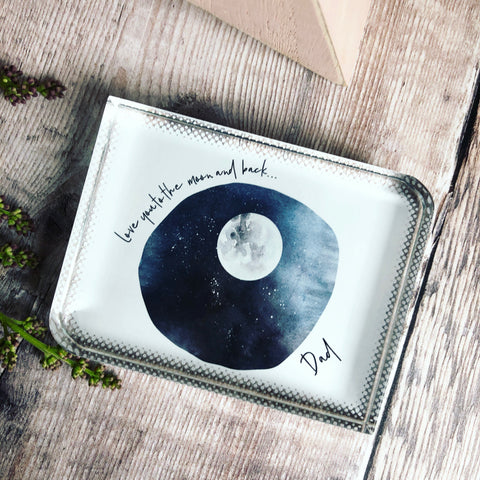 Personalised Love you to the moon.... Quote Fathers Day Dad Grandad Glass Block Keepsake ... - Keepsake Decoration - Ornament