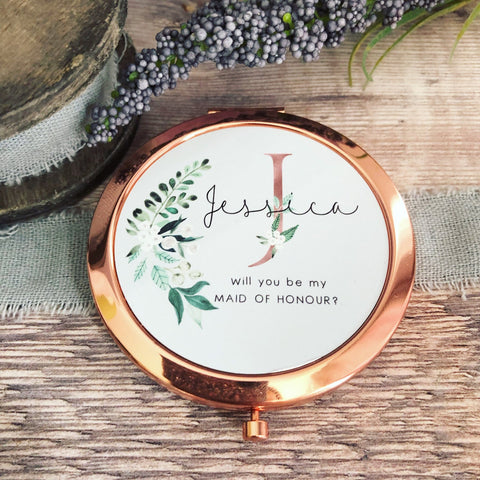 Personalised Initial and Name Will you be Bridesmaid Botanical Design Rose Gold Compact Mirror
