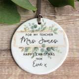 Personalised For my Teacher Teaching Assistant Christmas Framed Greenery Ceramic Round Decoration Ornament Keepsake