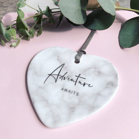 Adventure Awaits... Quote Marble Style Ceramic Hanging Heart